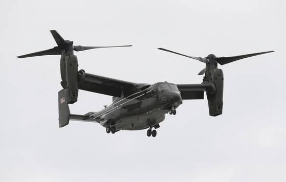 틸트로터 수송기인 MV-22 오스프리. 미군만이 갖고 있으며, 일본 육상자위대 수륙기동단이 곧 보유할 예정이다. [AP=연합뉴스]