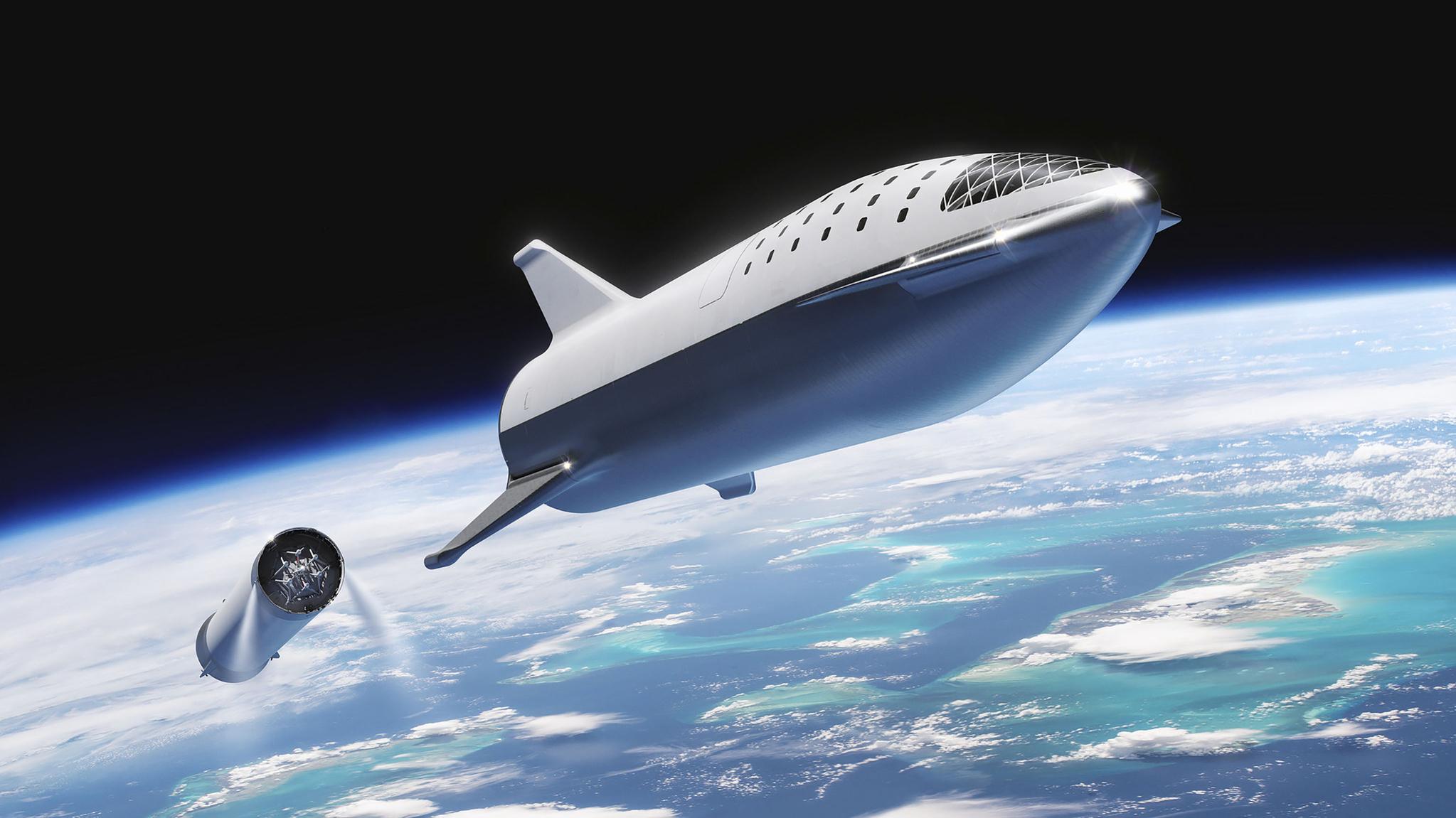 지난해 공개된 스타십 가상도. BFR이라 불렸다 지난해 이름을 스타십으로 바꿨다. 스페이스 X는 이 로켓을 이용해 이르면 오는 2023년 최초의 민간인 달 여행을 하고 나아가 화성을 향해서 발사한다는 계획이다. 총 2단계로 된 로켓은 달 여행객을 태우는 스타십과 엔진과 연료 시스템을 갖춘 슈퍼 해비(Super Heavy)다. 총 로켓 크기는 높이 118m, 지름 9m다. [AFP=연합뉴스]