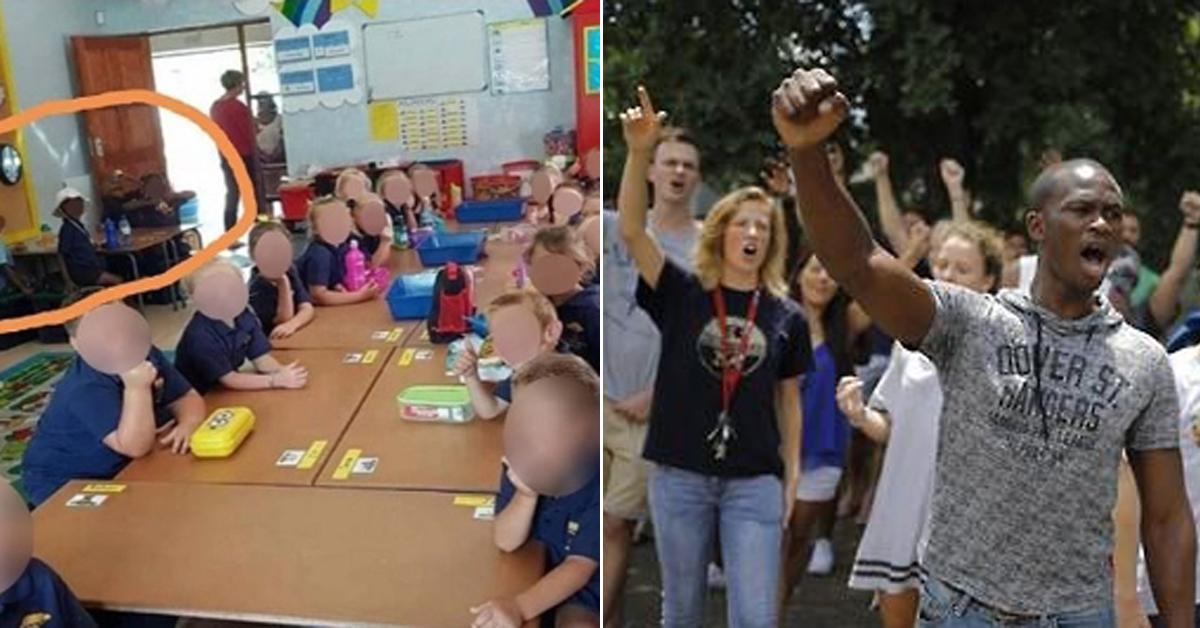 인종차별 논란을 일으킨 남아공 초등학교 교실 사진(왼쪽)과 남아프리카공화국의 인종차별 반대 시위(오른쪽) ['페이스 투 페이스 아프리카' 트위터 계정 캡처, EPA=연합뉴스]