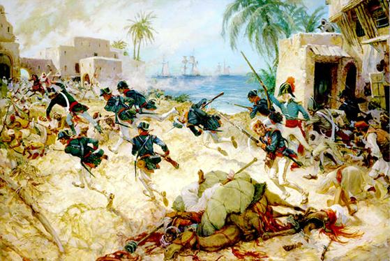 1805년 데르나 전투에서 적진을 향해 돌격하는 미 해병대. [사진 위키피디어]
