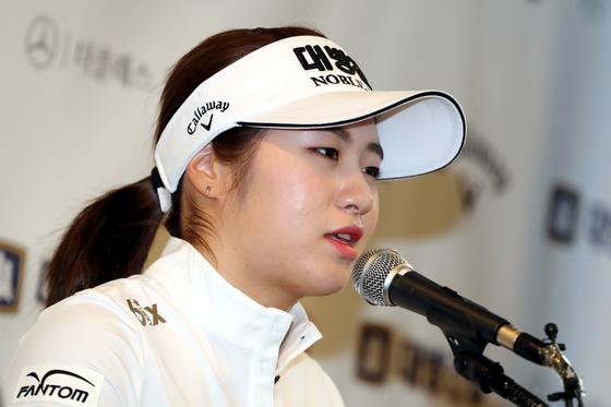 이정은6이 한국프레스센터에서 기자들의 질문에 답하고 있다. [뉴스1]