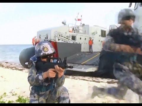 상륙훈련 중인 중국 인민해방군 해군 육전대. [CCTV 유튜브 캡처]