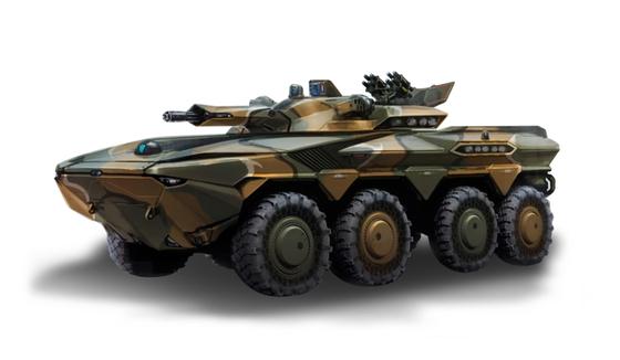 현대 로템이 지난해 7월 공개한 하이브리드 차륜형 장갑차 개념도. 대형 수송기에 실어 공수부대를 지원하는 용도의 장갑차라고 한다. [그래픽 현대로템]
