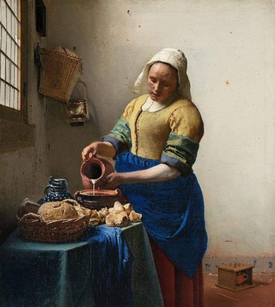 요하네스 베르메르, 우유 따르는 하녀, 45.7x 41cm, 캔버스에 유채, 1658, 국립미술관 암스테르담. [사진 송민]
