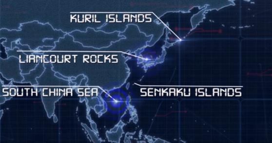 USFJ는 지난달 18일 공개한 홍보 영상에서 일본을 중심으로 한 영토 분쟁 지역을 소개하며 독도를 '리앙쿠르 암초'라고 소개했다. 독도를 분쟁 지역화 하려는 일본 정부의 의도가 반영된 결과로 보인다. [사진 USFJ 홍보 동영상 갈무리]