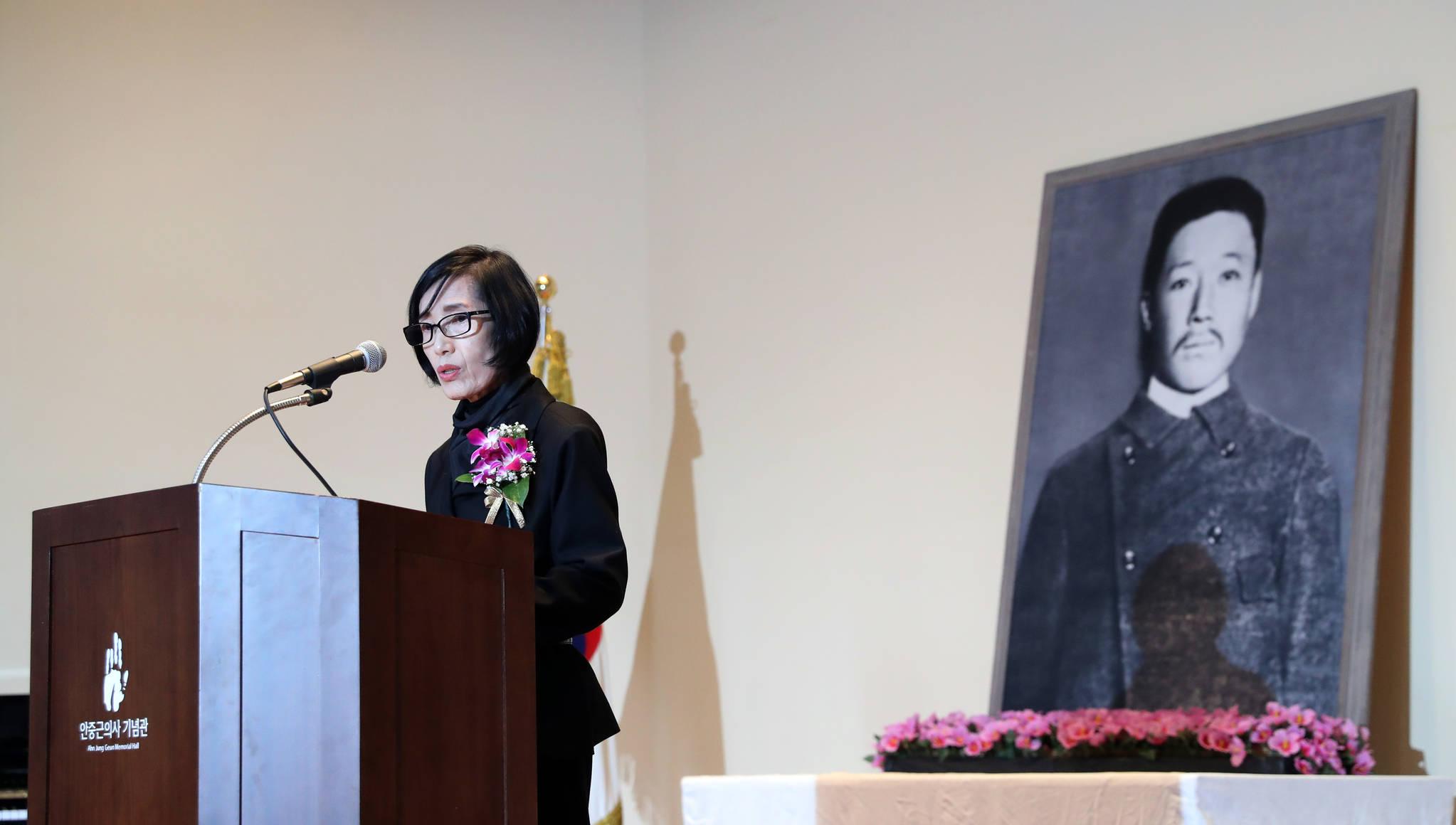2017년 10월 26일 서울 중구 안중근의사기념관에서 열린 안중근 의사 의거 108주년 기념식. 사진은 피우진 국가보훈처장이 기념사를 하는 모습. 김경록 기자