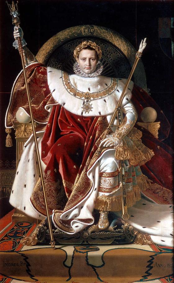 장 오귀스트 도미니크 앵그르, 황제 권좌에 앉은 나폴레옹(1806) 파리군사박물관 소장. 에바의 이론에 의하면 붉은 의복은 강력한 왕의 권력을 상징한 것으로 풀이된다. ⓒ공개도메인 [사진 위키피디아]