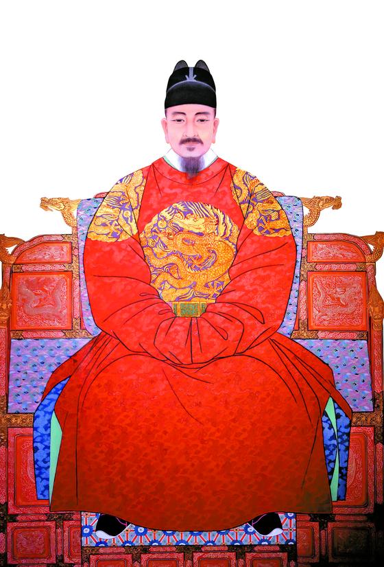 세종대왕 표준영정(운보문화재단소장). 붉은색 홍룡포를 입었다. 신기하게도 나폴레옹 초상화의 의복도 붉은색이다.
