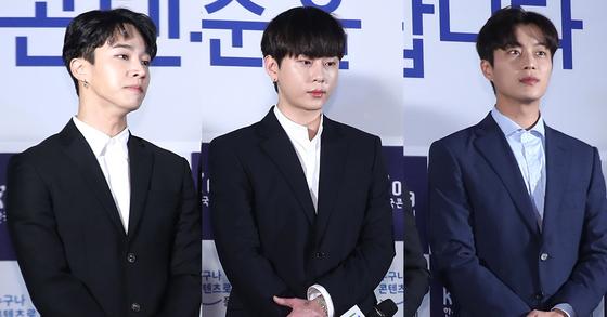 전 비스트 멤버(현 하이라이트 멤버)인 이기광(왼쪽부터), 용준형, 윤두준. [중앙포토]