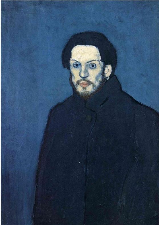 자화상(1901), 파블로 피카소. 이 그림이 그려진 시기의 피카소는 '청색 시대'로 불린다. ⓒ공개도메인 [출처 위키아트]