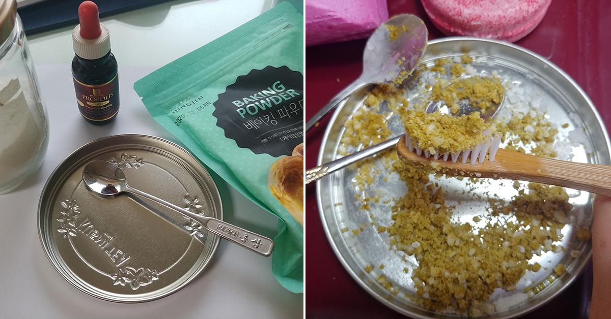베이킹파우더와 천일염·프로폴리스·코코넛 오일을 섞어 만든 가루 치약을 대나무 칫솔에 올려 사용했다. 박해리 기자