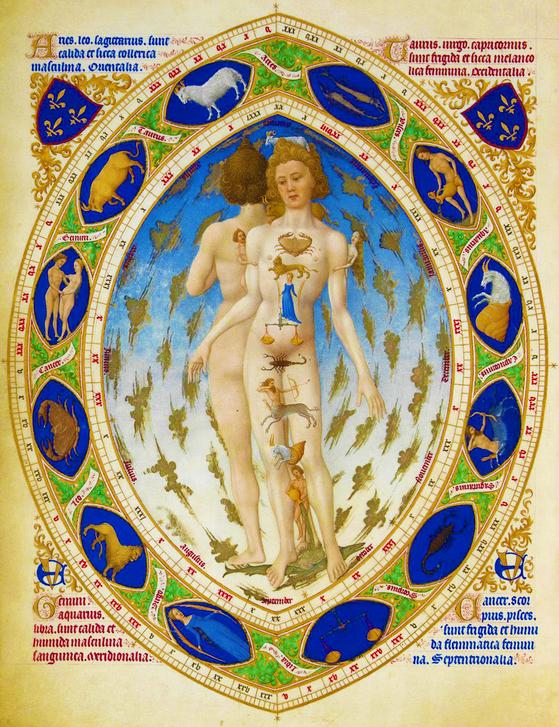 4. 1413년에 출판된 서적 속 그림. 사람의 장기나 신체 부위가 각각의 별자리와 연결되어 있다고 나온다.
