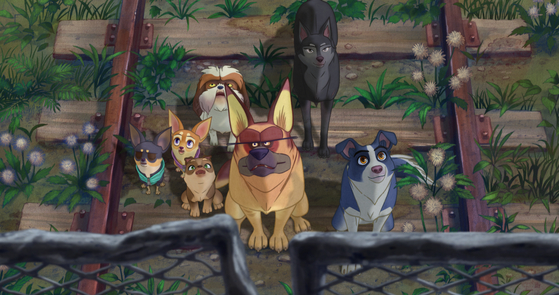 '언더독'은 떠돌이 개 뭉치(맨 오른쪽)와 친구들의 로드무비. [사진 NEW]