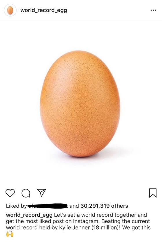 인스타그램 '월드 레코드 에그(world_record_egg)' 계정에 올라온 달걀 사진 한 장이 역대 인스타그램 포스팅 중 '좋아요' 수 1위에 등극했다.[인스타그램 캡처]