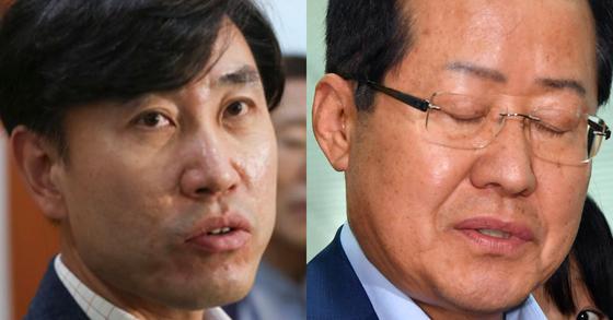 하태경 바른미래당 의원(왼쪽)과 홍준표 자유한국당 전 대표. 임현동 기자, [사진공동취재단]