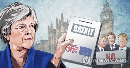 테리사 메이 총리 '브렉시트 합의안' 의회서 부결. [연합뉴스]