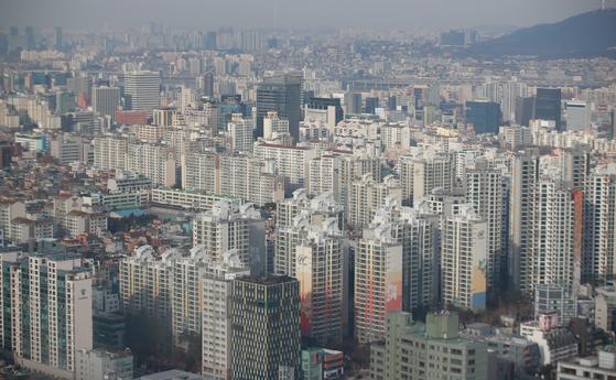 서울 삼성동에서 바라본 강남구 일대 아파트 모습. [연합뉴스]