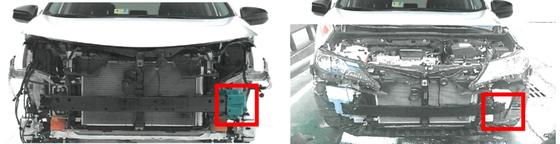 도요타의 준중형 SUV 전면부. 미국에서 판매한 차량(왼쪽)은 철강보강재를 부착해 안전성을 높였지만, 한국에서 판매한 차량(오른쪽)은 보강재가 없다. [사진 공정거래위원회]