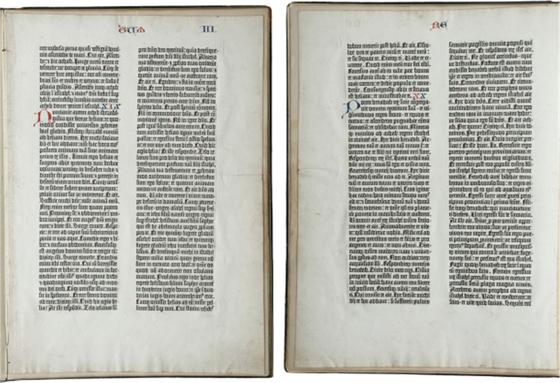 서양 최초의 금속활자본 '쿠텐베르크 성경'. 미국 타임지에서 과거 1천년 동안 인류의 발전에 가장 크게 기여한 발명이 무엇인지 조사한 적이 있다. 1위를 차지한 것은 구텐베르크의 활판 인쇄술이었다. [뉴시스]