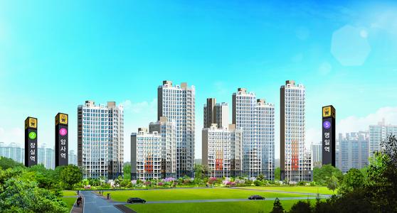 서울 강동구에서 파격적인 가격에 조합원을 모집하고 있는 암사 대우 이안 한강 투시도. 8호선 연장 별내선 개발에 따른 수혜가 기대되는데다 주변에 생활인프라가 잘 구축돼 있어 실수요는 물론 투자자의 관심이 크다.