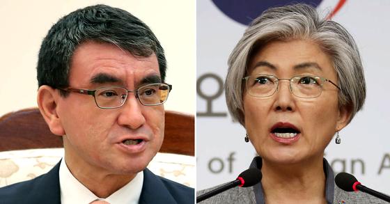 고노 다로 일본 외무상(左), 강경화 외교부 장관(右). [연합뉴스, 뉴스1]