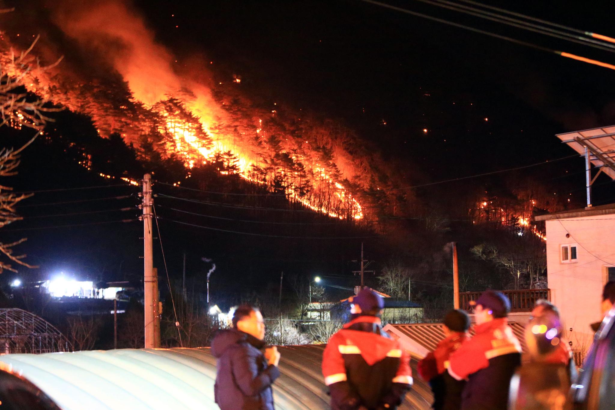 지난 1일 오후 4시 12분께 강원 양양군 서면 송천리 한 야산에서 난 불이 마을 주변으로 번지자 진화에 나선 산림청 직원들이 걱정스러운 모습으로 지켜보고 있다. [연합뉴스]