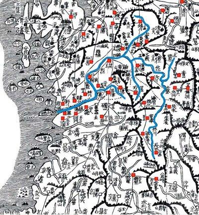 대동여지도에 표시된 금강일대. 풍수지리에서는 이 모양을 반궁수 혹은 배류수라고 본다. [사진=국사편찬위원회]