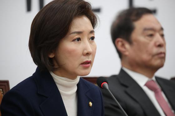 나경원 자유한국당 원내대표가 21일 국회에서 열린 비상재책회의에 참석해 발언하고 있다. [오종택 기자]