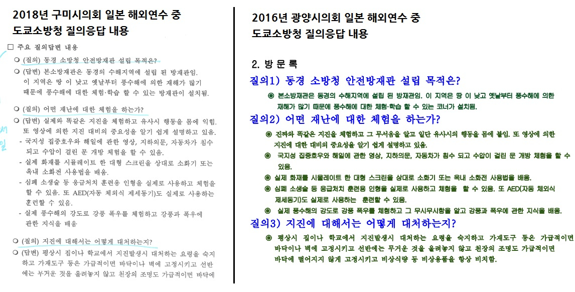 2018년 구미시의회가 일본 해외연수 중 도쿄소방청에 질의응답한 내용(왼쪽)과 2016년 광양시의회가 일본 해외연수 중 도쿄소방청에 질의응답한 내용. 구미시의회는 지역 시민단체의 지적이 나오자 해당 부분을 삭제했다. [자료 구미YMCA·광양시의회]