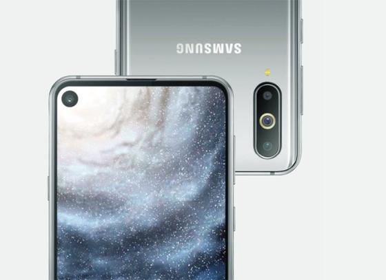 최근 삼성이 중국에서부터 공개한 갤럭시A8s. 고동진 사장이 언급한대로 보급형 제품이나 전면 홀 디스플레이, 후면부 트리플카메라 등이 먼저 탑재됐다. [사진 삼성전자]