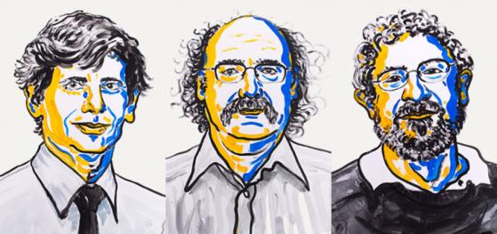 2016년 노벨물리학상 수상자. 왼쪽부터 데이비드 사울리스, 던컨 홀데인, 마이클 코스털리츠. 이 세명은 기묘한 물질(Exotic Matter)의 상태 변화를 수학적으로 분석한 공로로 노벨 물리학상을 받았다. [사진제공=노벨위원회]