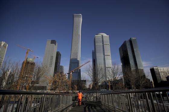 21일 중국 베이징에서 건설 중인 센트럴경제지구. [AP=연합뉴스]
