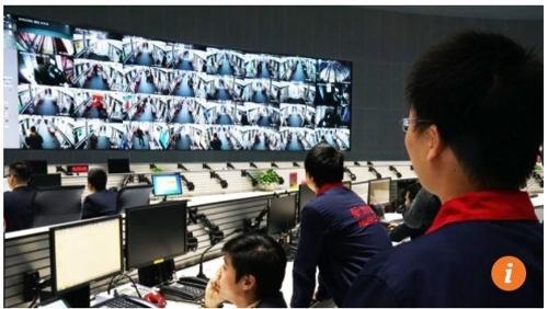 최근 최첨단 CCTV를 설치한 중국 지하철 통제실. [SCMP 홈페이지 캡쳐]