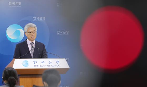 박양수 한국은행 경제통계국장이 22일 오전 서울 중구 한국은행에서 2018년 4분기 및 연간 실질 국내총생산(GDP)을 설명하고 있다. [뉴스1]
