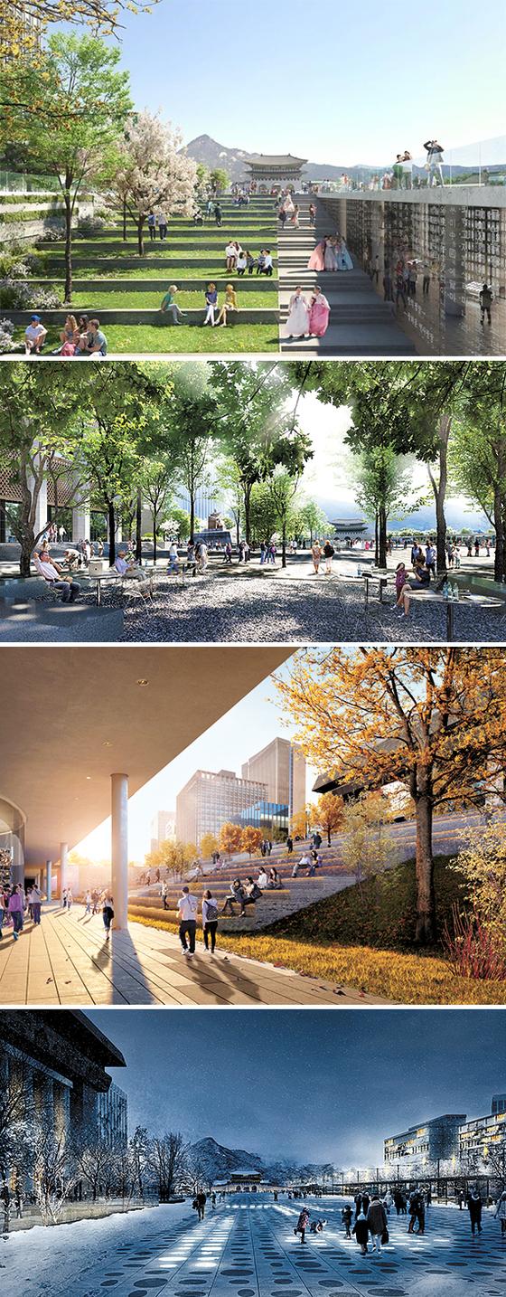 서울시가 21일 선정·발표한 광화문광장 재구조화 국제설계공모전 당선작 '딥 서피스(Deep Surface)'의 투시도. 위부터 지하광장, 다양한 나무를 심은 녹음 공간, 서울 600년 역사를 담은 시간의 정원, 겨울철을 광장 바닥을 배경으로 한 열린공간. 2021년 완공할 예정이다. [사진 서울시]