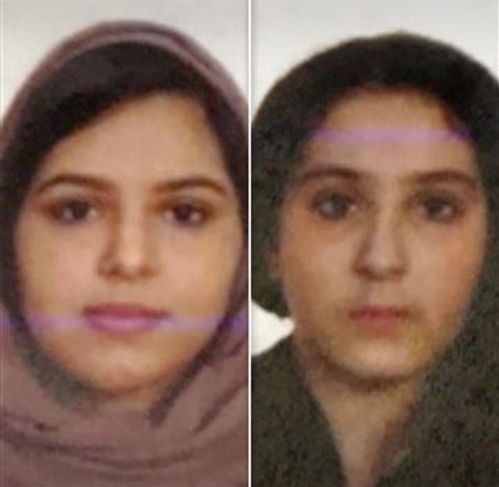 미국에서 고향 사우디아라비아로 돌아가지 않기 위해 서로의 몸을 묶고 허드슨강에 뛰어든 로타나·탈라 파리아 자매. [사진 NYPD]