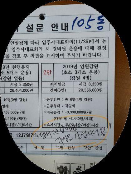 [착한뉴스] 담배 한갑, 치킨 한마리 덜사…경비원 지킵시다