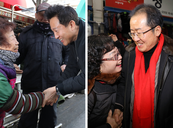 오세훈 전 서울시장(왼쪽 사진)과 홍준표 자유한국당 전 대표가 각각 25일 대구 서문시장을 찾아 시민들과 인사 나누고 있다. 유력 당권 후보인 두 사람 모두 시민들의 손을 잡으며 인사하고 있다. [뉴스1]