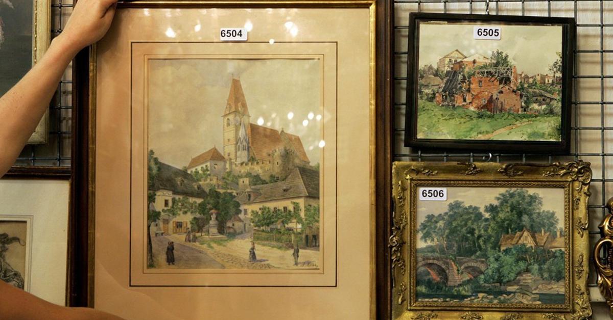 지난 2009년 경매에서 팔린 히틀러의 수채화 작품들. [EPA=연합뉴스]