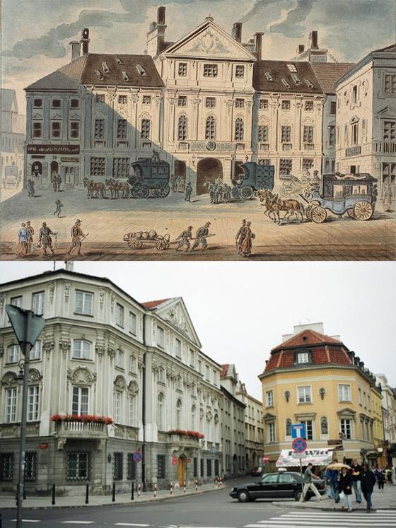 (위) 바르샤바 웨셀 궁의 옛 모습. 쇼팽 시절 우체국이 있었고 그 앞은 장거리 마차역이었다. (아래) 바르샤바 웨셀 궁의 현재 모습. 자동차가 서 있는 곳이 쇼팽이 바르샤바를 떠나는 마차에 오른 곳이다. [사진 (위)유럽 연합의 프로젝트 '쇼팽의 바르샤바 Chopin's Warsaw' 홈페이지와 (아래)폴란드 국립 쇼팽협회]