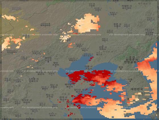 2017년 1월 1일 나사 위성이 수집한 동북아 에어로졸 관측 데이터. [행정안전부 제공]