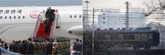 김정은 북한 국무위원장이 2월 말쯤 열릴 2차 북미 정상회담에 전용기 참매-1호(왼쪽)을 이용할지, 이번엔 특별열차편을 이용할지 고심중인 것으로 알려졌다. [AFP=연합]