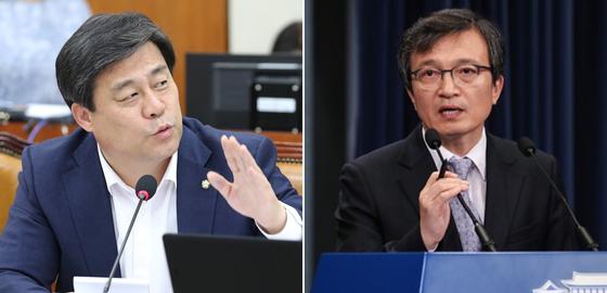 김선동 여의도 연구원장(왼쪽), 김의겸 청와대 대변인. [연합뉴스]