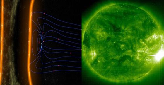 지구 자기장이 태양의 고에너지 입자를 막아내는 모습. 파란색 부분 중앙이 지구(왼쪽)과 태양 폭발 장면(오른쪽) [미국항공우주국(NASA)=연합뉴스]