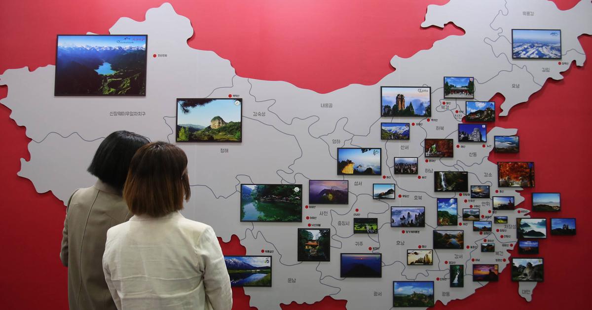 한 전람회 중국 부스에 부착된 중국 관광지도. [연합뉴스]