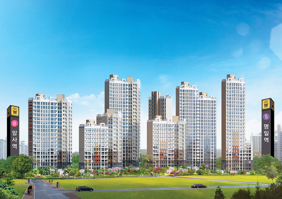 서울 '강남4구' 중 한 곳인 강동구에서 암사 대우 이안 한강이 파격적인 가격에 조합원을 모집하고 있다. 주변 시세보다 가격이 싼데다, 주변에 개발호재가 많아 투자자들의 관심이 크다. 이미지는 대우 이안 한강 투시도.
