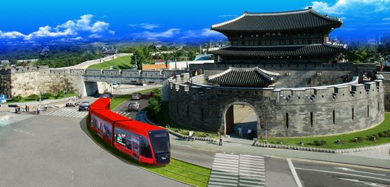 경기 수원시는 친환경 교통수단인 노면전차(트램)을 수원역에서 장안구청까지 6㎞ 구간에 오는 2022년까지 도입하겠다고 사진은 트램 조감도. [사진 수원시]
