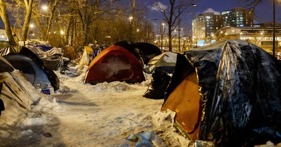 시카고 노숙자 텐트. [AP=연합뉴스]