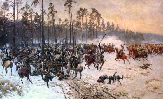 스토츠크 전투(Battle of Stoczek, 1890), 얀 로센(Jan Rosen) 그림, 폴란드 군사박물관 소장. 봉기 초반인 1831년 2월, 봉기군은 스토츠크 우코프스키에서 러시아 지원군을 물리쳤다. ⓒPublic Domain [출처 wikipedia]