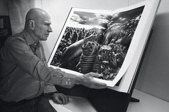'제네시스' 사진집을 보고 있는 세바스티앙 살가두. [중앙포토]